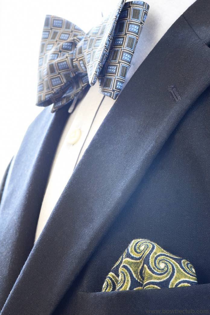 green and nay swirl pattern wool pocket square
