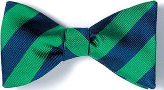 British Woven Stripes Silk Bow Tie Navy Green