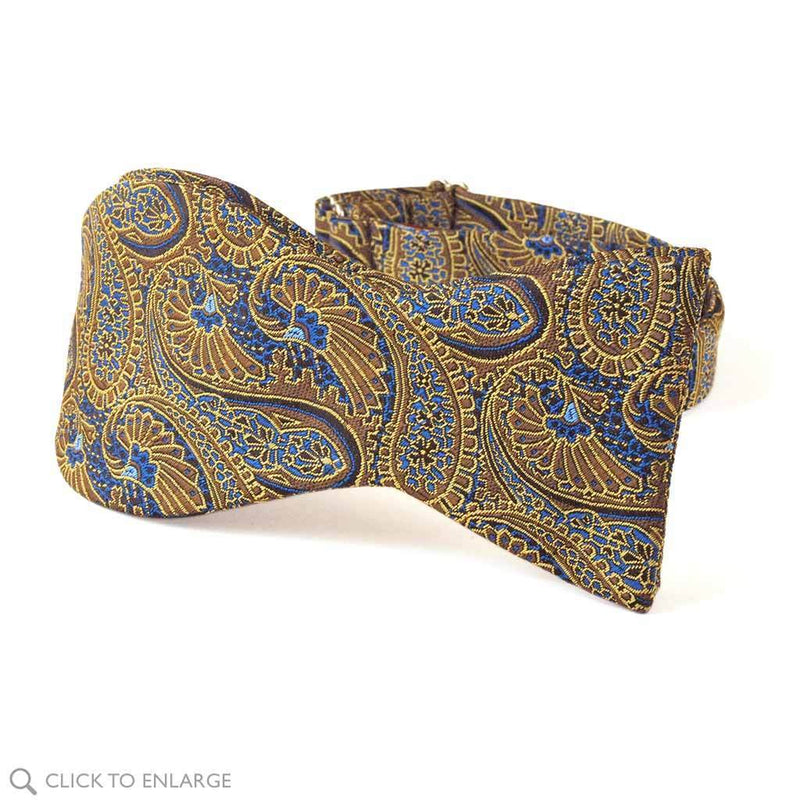 brown gold paisley bow tie