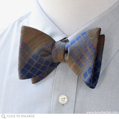 British Wool Plaid Bow Tie in Red Brown and Blue on Blue Pinpoint Oxford Shirt