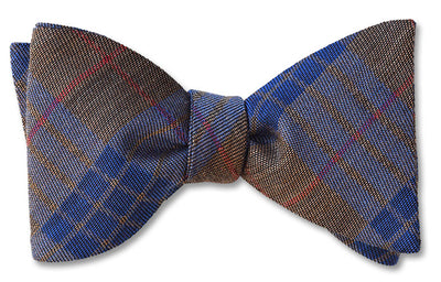 British Wool Plaid Bow Tie in Red Brown and Blue