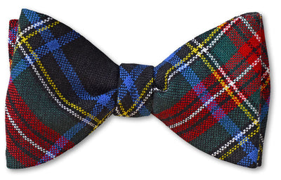 Stewart Black Modern Authentic Scottish Wool Tartan Bow Tie