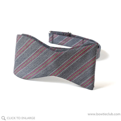 Light Grey Stripe wool bow tie self tie