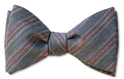 Light Grey Wool Challis pre-tied bow tie