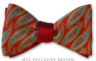 Reversible Red Paisley Silk Bow Tie American Made