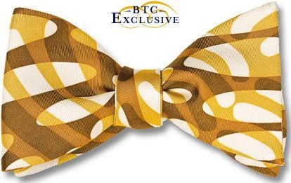 bow ties designer american made wave brown tan silk
