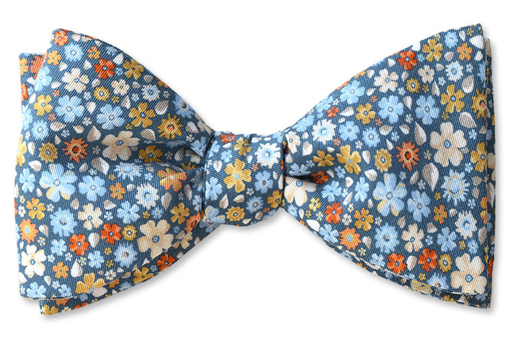 Blue Floral Cotton Print Bow Tie Reminiscent of A London Flower Shop