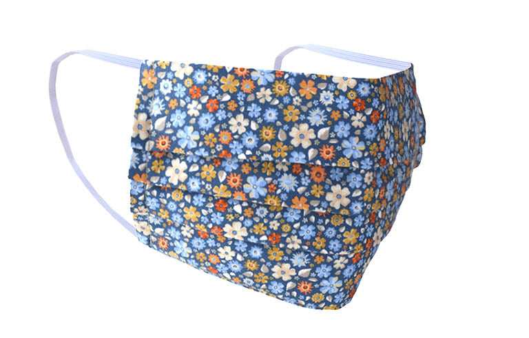 Summer Meadow Blue Floral Cotton Face Mask Made in Italy.