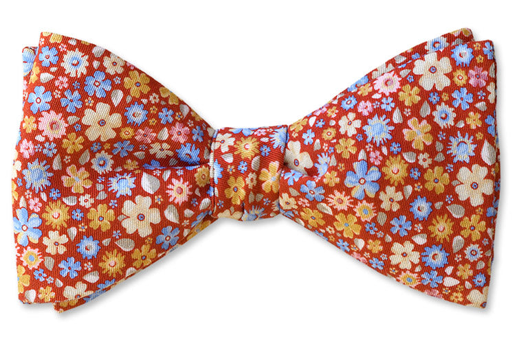 A Red Floral Bow Tie Printed In Como Italy