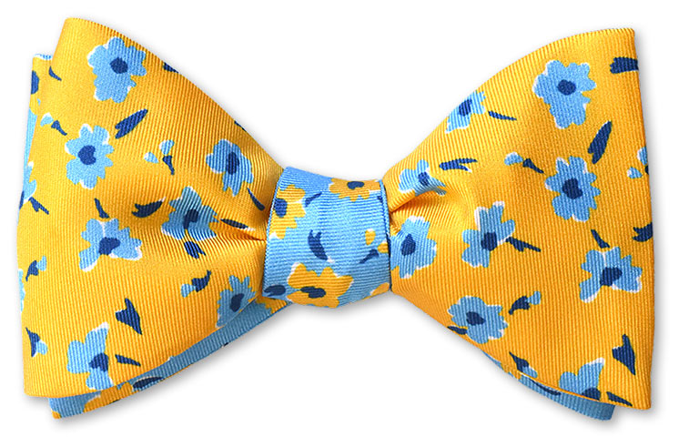 yellow summer reversible bow tie