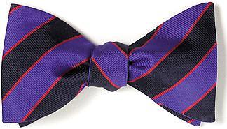 British Woven Stripes Bow Tie Navy Royal Blue |Swansea