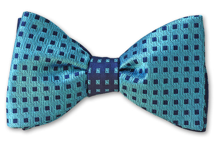 Navy on teal blue reversible woven silk bow tie