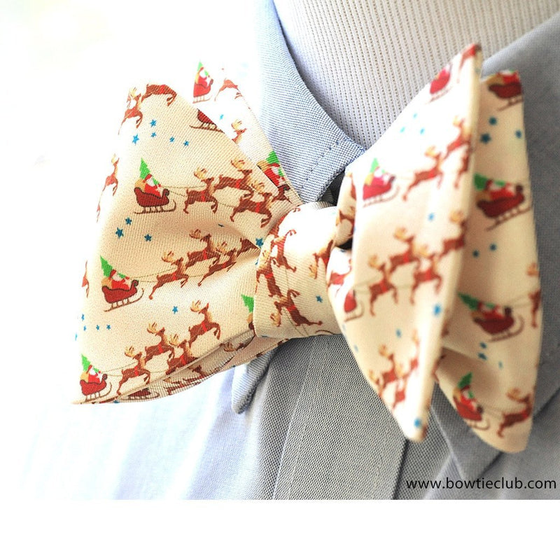 Reindeer Sleigh Christmas Silk Men's Bow Tie