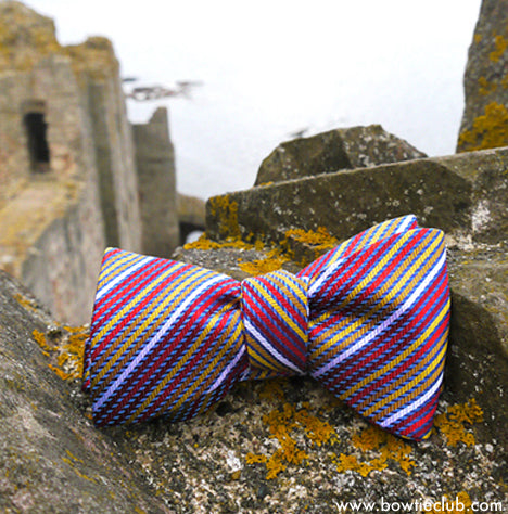 Red blue gold yellow thin stripes bow tie