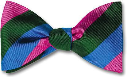 British Woven Stripes Bow Tie Pink Green Blue