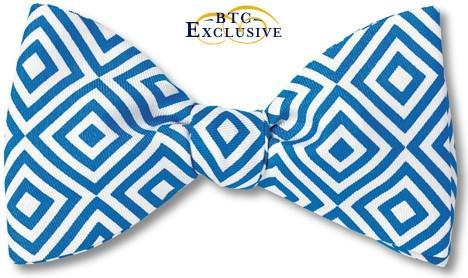 Geometric Blue Bow Tie