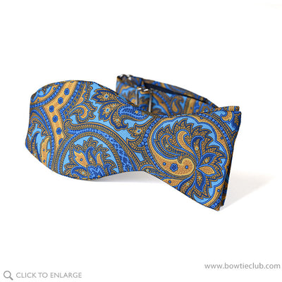 Tiepolo Bright Blue and Gold Paisley Italian Silk Twill Bow Tie self tie