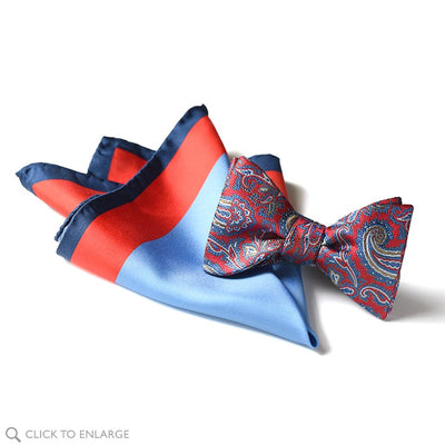 Italian silk pocket square bow tie combination in reds and blue