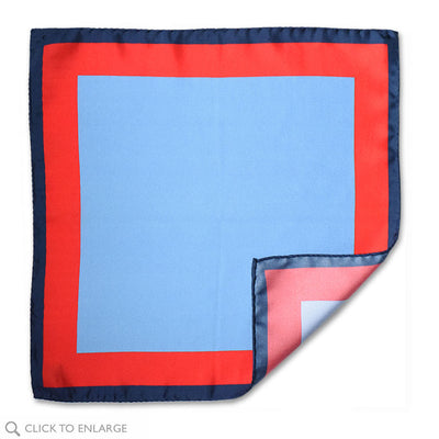 Torbole Italian made silk pocket square in blocks of blue and red