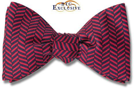 Red Navy Chevron Pre-tied Bow Ties