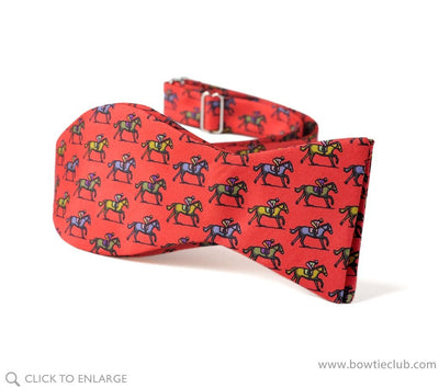 self tie red horse bow tie