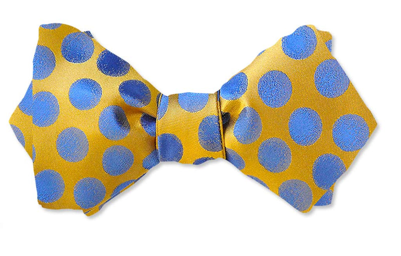 Yellow and Blue Polka Dots Bow Tie