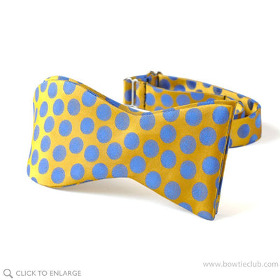 Tuscany Yellow Polka Dots Silk Bow Tie Self-tie