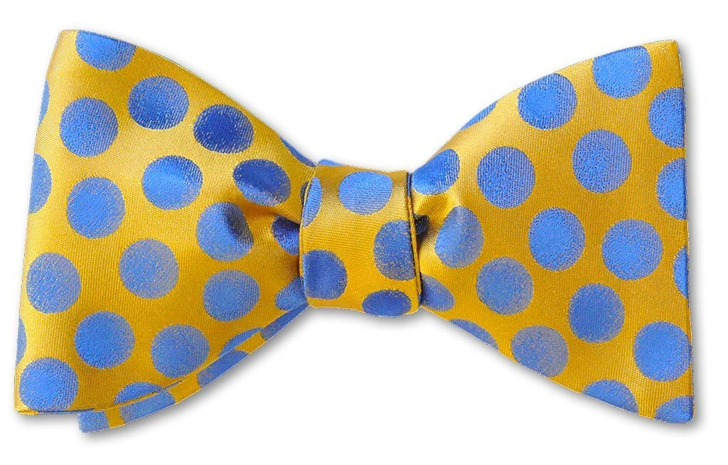 Tuscany Yellow Polka Dots Silk Bow Tie