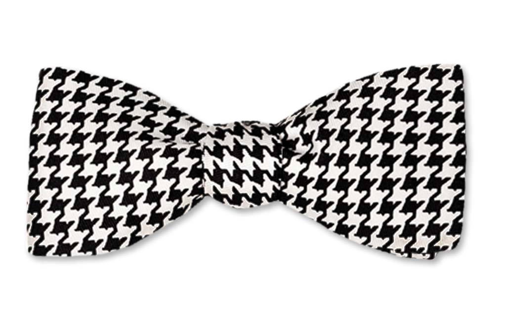 Black White Houndstooth Batwing Straight edge Self-tie Bow Tie