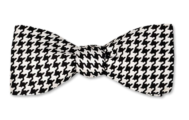 Black White Houndstooth Batwing Self-tie Bow Tie