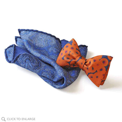 chashmere pocket square with dorado bow tie