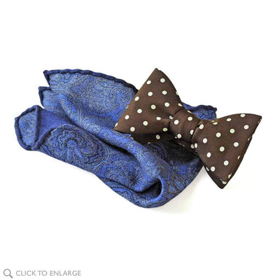 cashmere and silk blend pocket square with truffle brown bow tie