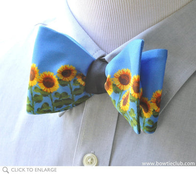 blue sunflower bow tie on shirt