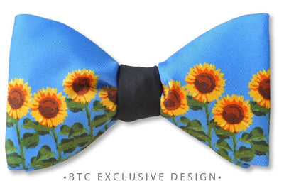 blue sunflower bow tie pretied