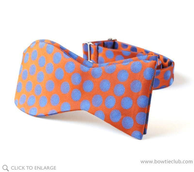 self tie orange and blue woven polka dot bow tie
