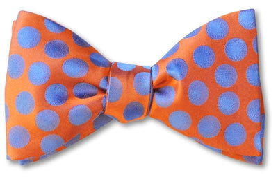pretied ornage and blue woven polka dot bow tie