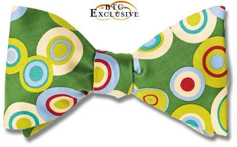 bow ties designer american made green silk circles