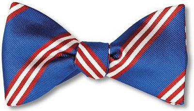 bow ties american made blue silk stripes