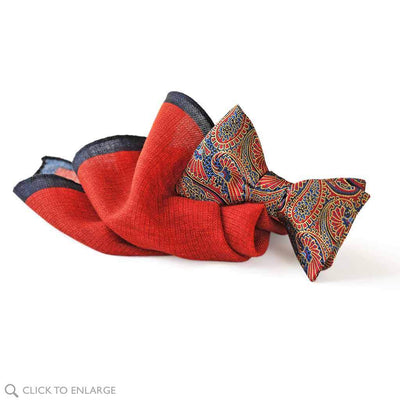 Deep red wool pocket square with paisley red bow tie