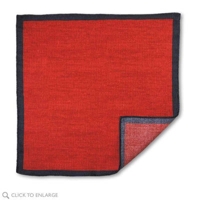 Deep red wool pocket square