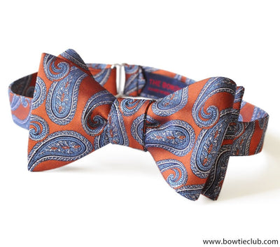 Vivaldi Blue Copper Paisley Silk Bow Tie