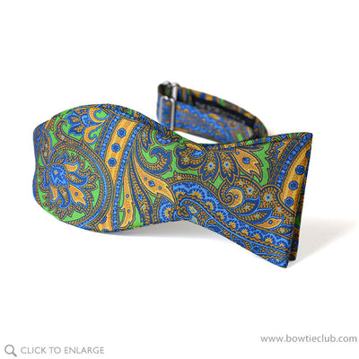 Watteau Green And Gold Italian Silk Twill Paisley Bow Tie self tie