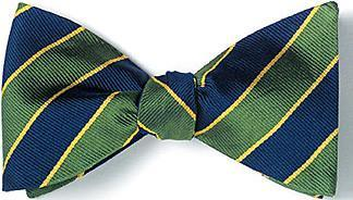 bow ties american made green navy stripes silk