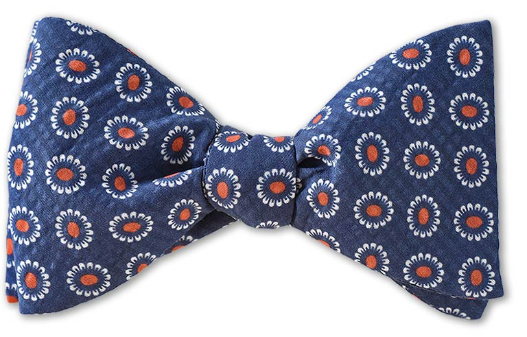 pre-tied blue floral cotton silk seersucker bow tie