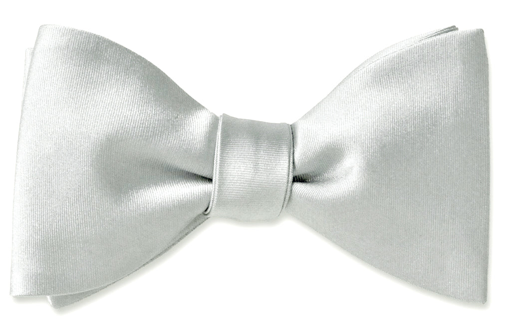 White Satin Formal Bow Tie