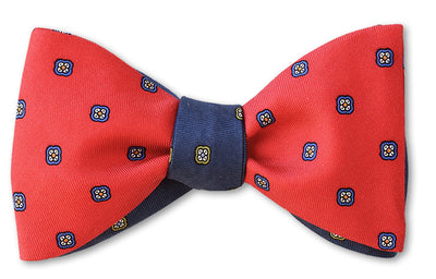 two sided red and blue reversible silk bow tie