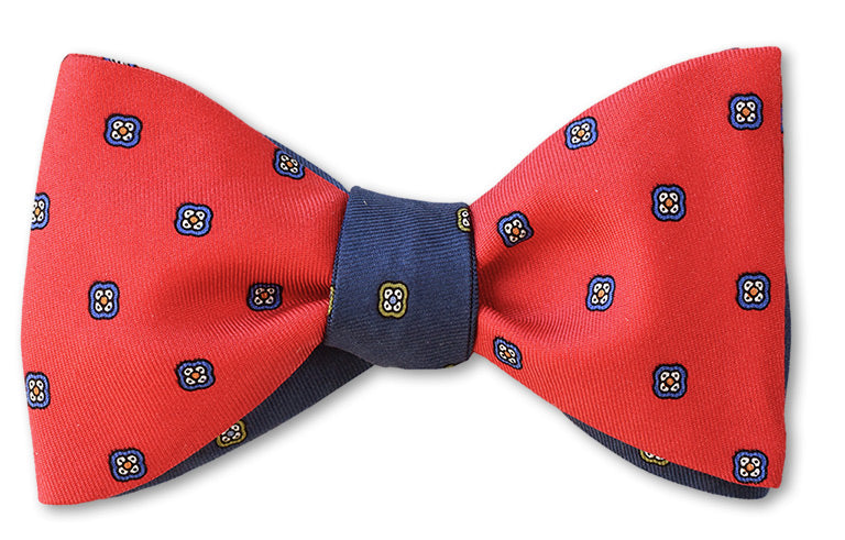 Reversible blue and red silk bow tie 2 sided