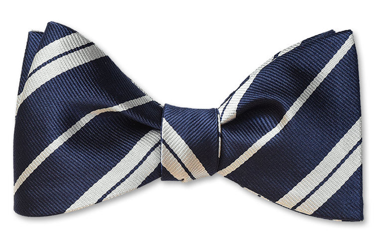 Pretied white and navy stripe woven silk bow tie