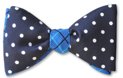 Navy dot and plaid two tone bow tie