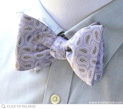 lavender paisley bow tie on shirt